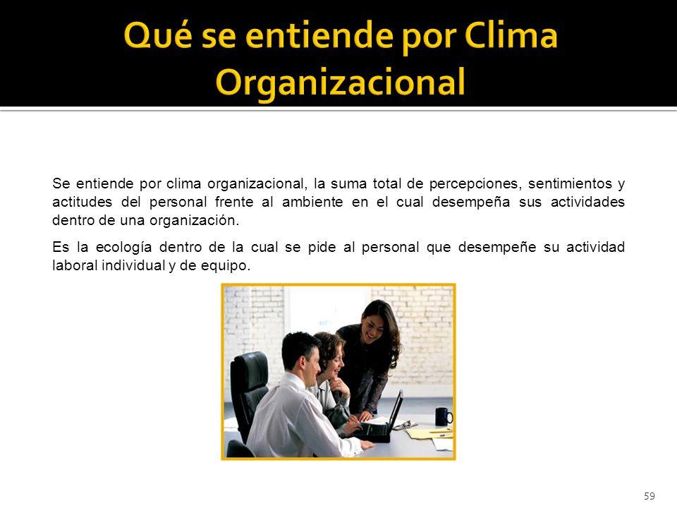 59 Se entiende por clima organizacional, la suma total de percepciones, sentimientos y actitudes del personal frente al ambiente en el cual desempeña sus actividades dentro de una organización.