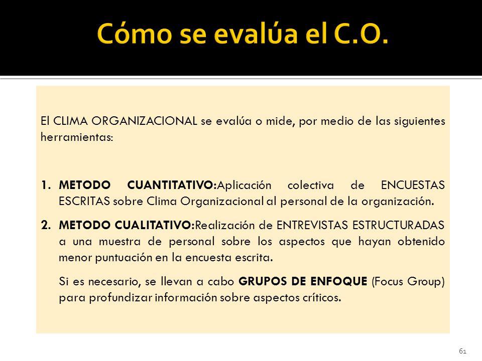 61 El CLIMA ORGANIZACIONAL se evalúa o mide, por medio de las siguientes herramientas: 1.METODO CUANTITATIVO:Aplicación colectiva de ENCUESTAS ESCRITAS sobre Clima Organizacional al personal de la organización.
