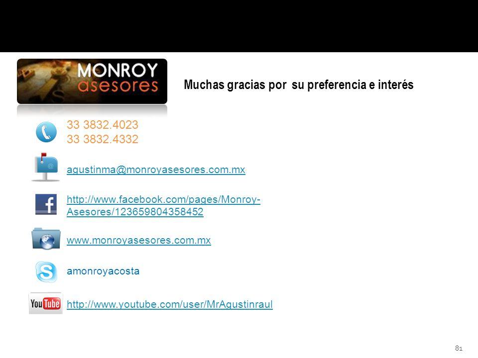 81 www.monroyasesores.com.mx Muchas gracias por su preferencia e interés.