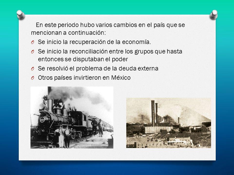 En este periodo hubo varios cambios en el país que se mencionan a continuación: O Se inicio la recuperación de la economía. O Se inicio la reconciliac