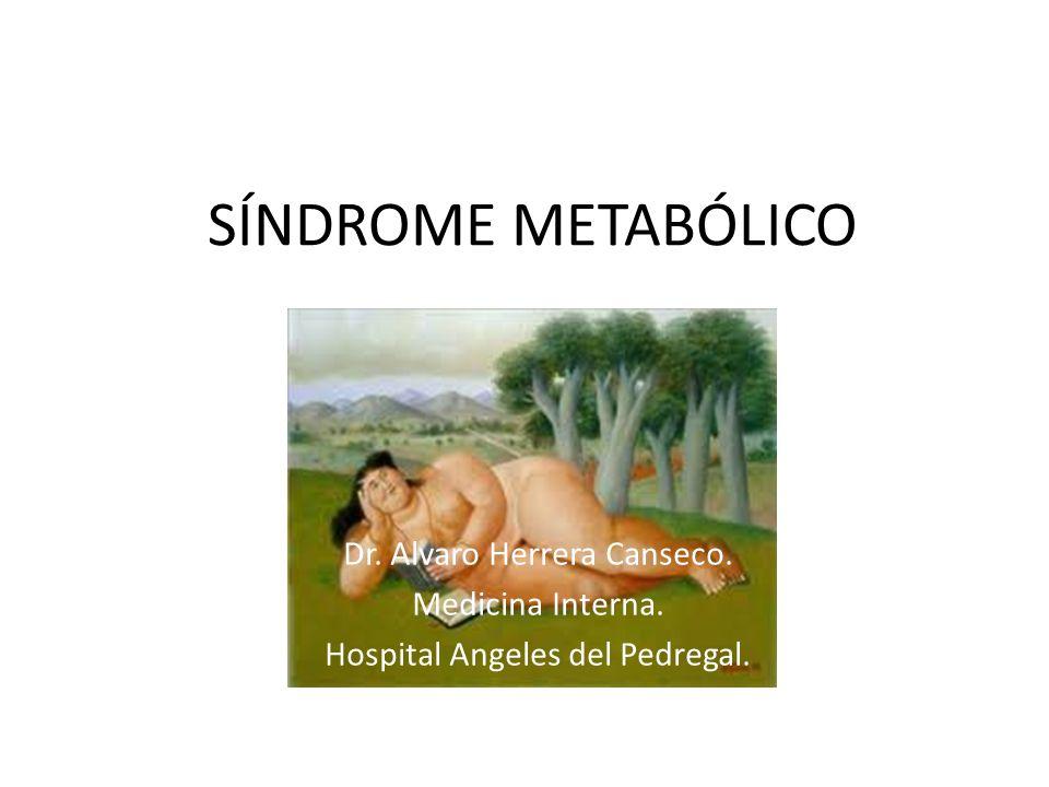 SÍNDROME METABÓLICO Dr. Alvaro Herrera Canseco. Medicina Interna. Hospital Angeles del Pedregal.