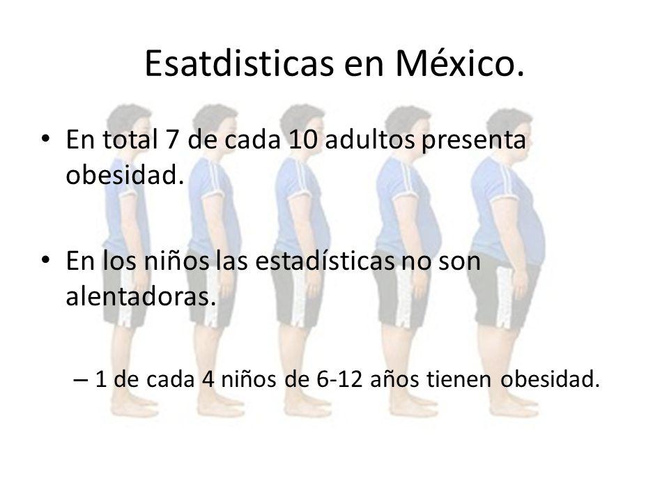 Esatdisticas en México.En total 7 de cada 10 adultos presenta obesidad.