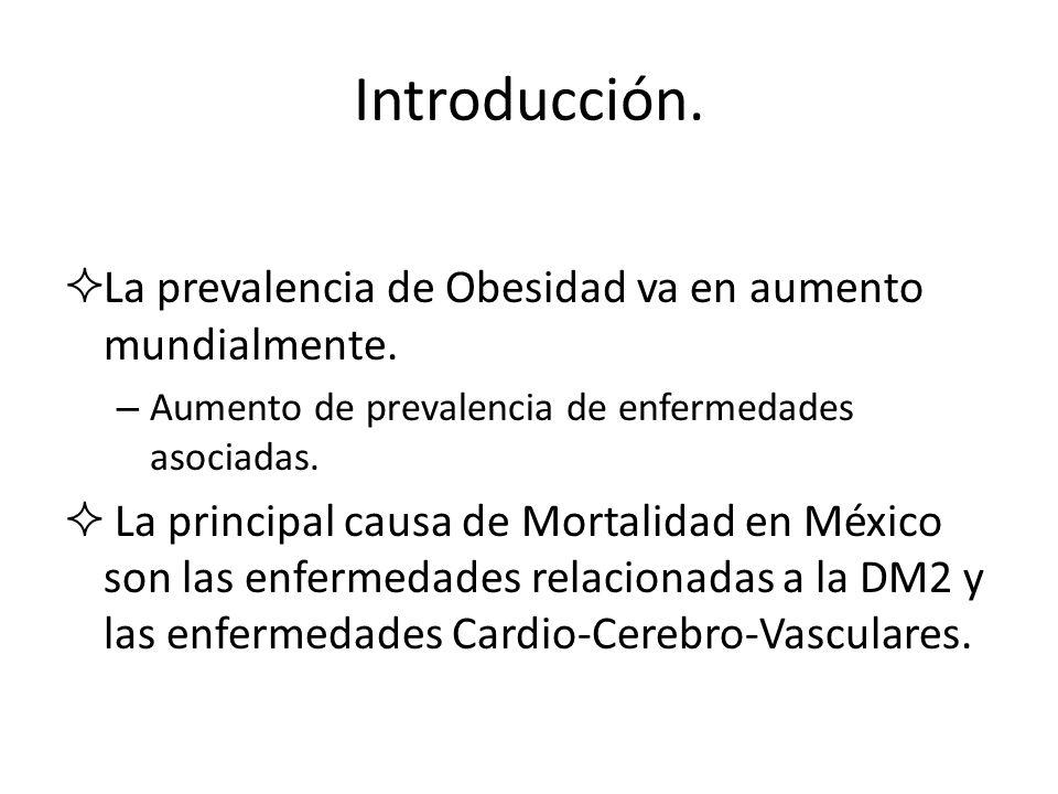 Introducción.La prevalencia de Obesidad va en aumento mundialmente.