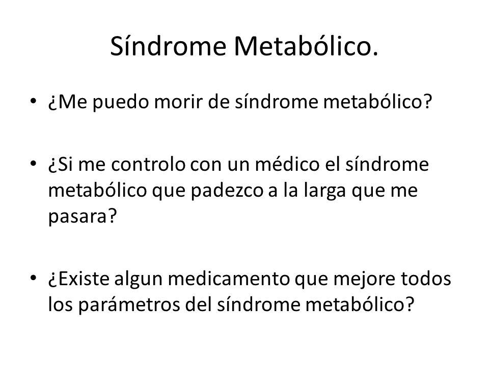 Síndrome Metabólico.¿Me puedo morir de síndrome metabólico.