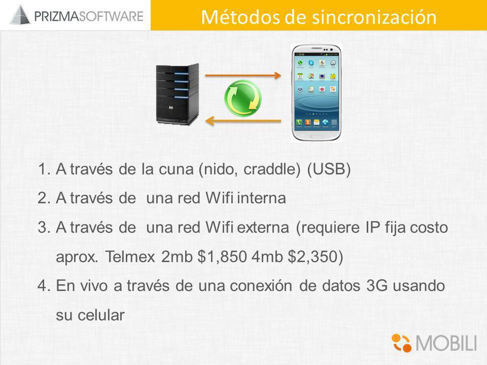1.A través de la cuna (nido, craddle) (USB) 2.A través de una red Wifi interna 3.A través de una red Wifi externa (requiere IP fija costo aprox. Telme