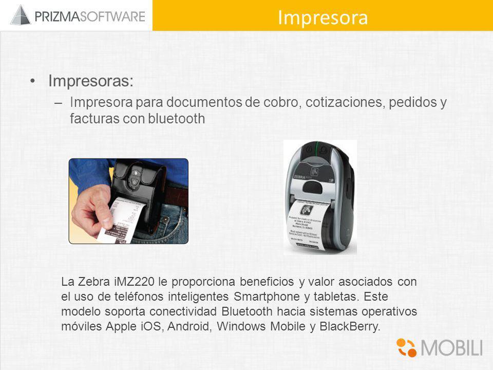 Impresoras: –Impresora para documentos de cobro, cotizaciones, pedidos y facturas con bluetooth Impresora La Zebra iMZ220 le proporciona beneficios y