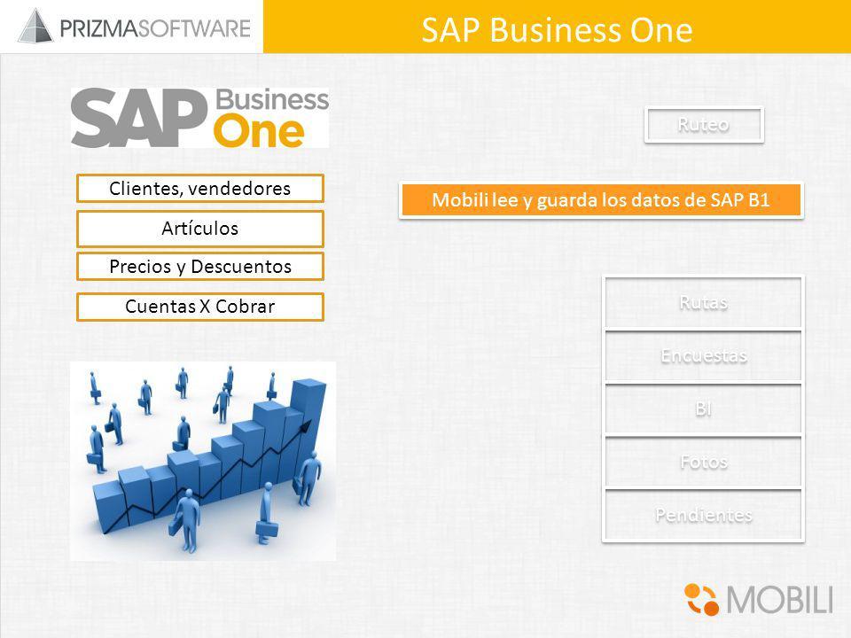 Rutas Encuestas BI Fotos Pendientes SAP Business One Ruteo Clientes, vendedores Precios y Descuentos Artículos Cuentas X Cobrar Mobili lee y guarda lo