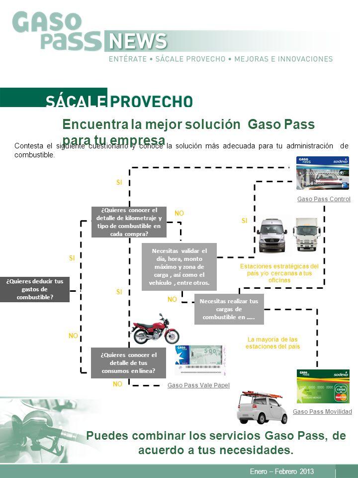 Encuentra la mejor solución Gaso Pass para tu empresa Enero – Febrero 2013 Puedes combinar los servicios Gaso Pass, de acuerdo a tus necesidades.