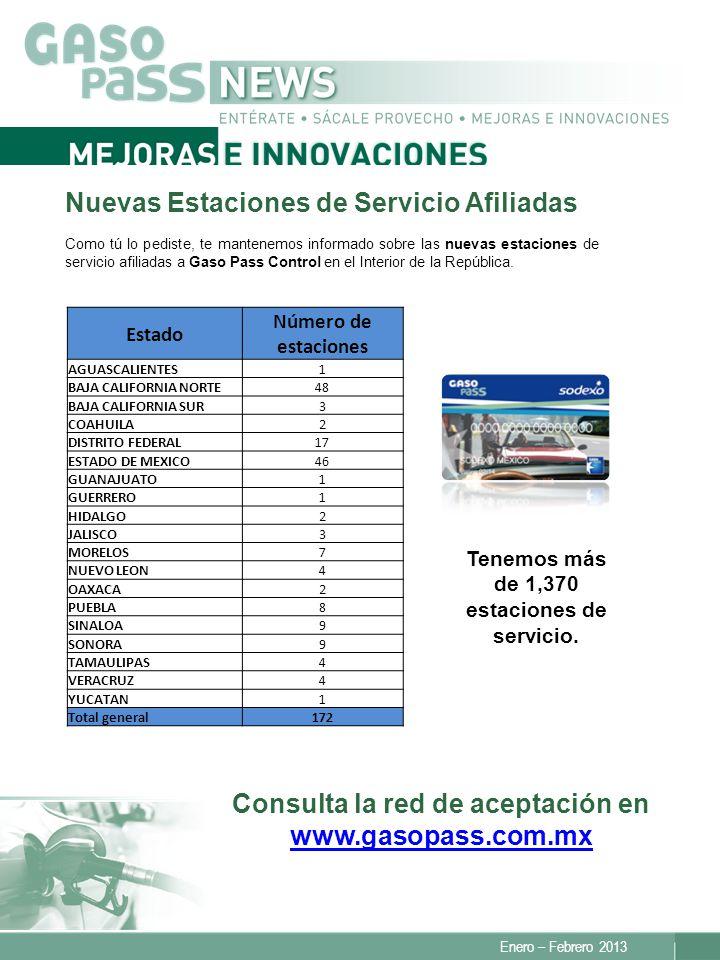 Enero – Febrero 2013 Consulta la red de aceptación en www.gasopass.com.mx www.gasopass.com.mx Nuevas Estaciones de Servicio Afiliadas Como tú lo pedis