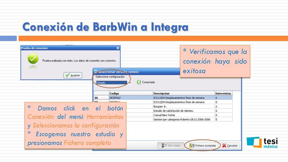* Definimos el tipo de entrevistas que deseamos descargar y aceptamos Conexión de BarbWin a Integra