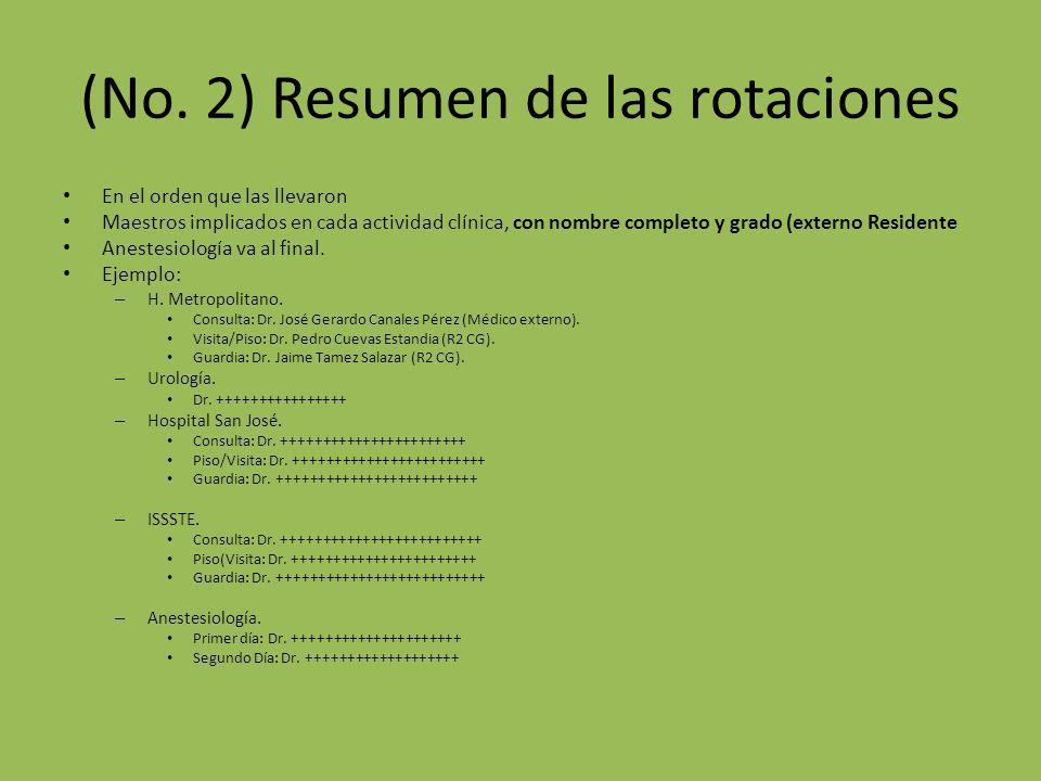 (No. 2) Resumen de las rotaciones En el orden que las llevaron Maestros implicados en cada actividad clínica, con nombre completo y grado (externo Res