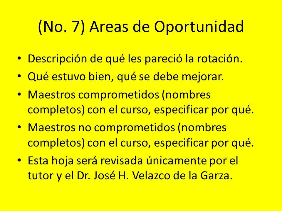 (No. 7) Areas de Oportunidad Descripción de qué les pareció la rotación. Qué estuvo bien, qué se debe mejorar. Maestros comprometidos (nombres complet