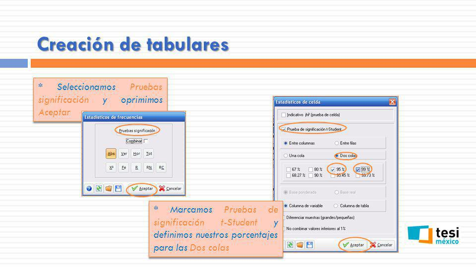 Creación de tabulares * Seleccionamos Pruebas significación y oprimimos Aceptar * Marcamos Pruebas de significación t-Student y definimos nuestros por