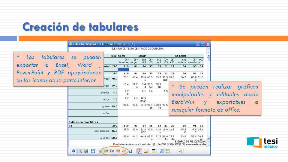 Creación de tabulares * Los tabulares se pueden exportar a Excel, Word, PowerPoint y PDF apoyándonos en los iconos de la parte inferior. * Se pueden r