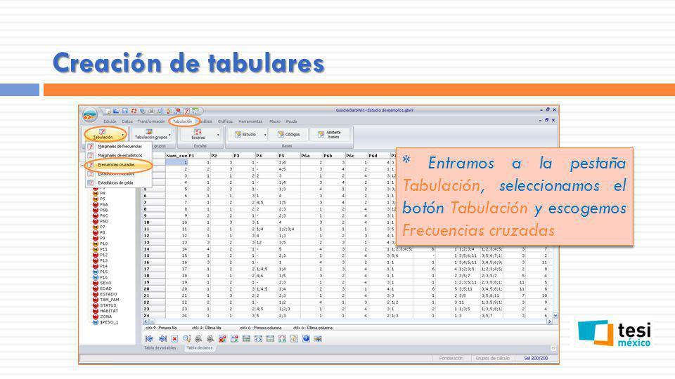 Creación de tabulares * Entramos a la pestaña Tabulación, seleccionamos el botón Tabulación y escogemos Frecuencias cruzadas