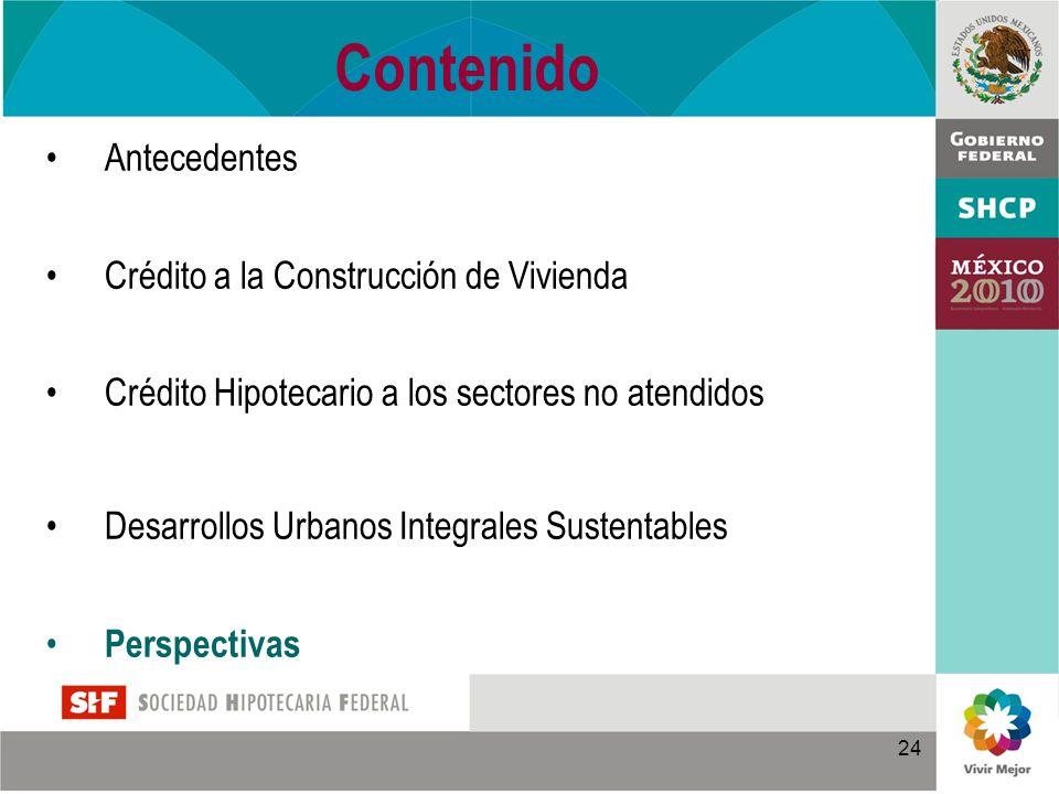 24 Contenido Antecedentes Crédito a la Construcción de Vivienda Crédito Hipotecario a los sectores no atendidos Desarrollos Urbanos Integrales Sustentables Perspectivas
