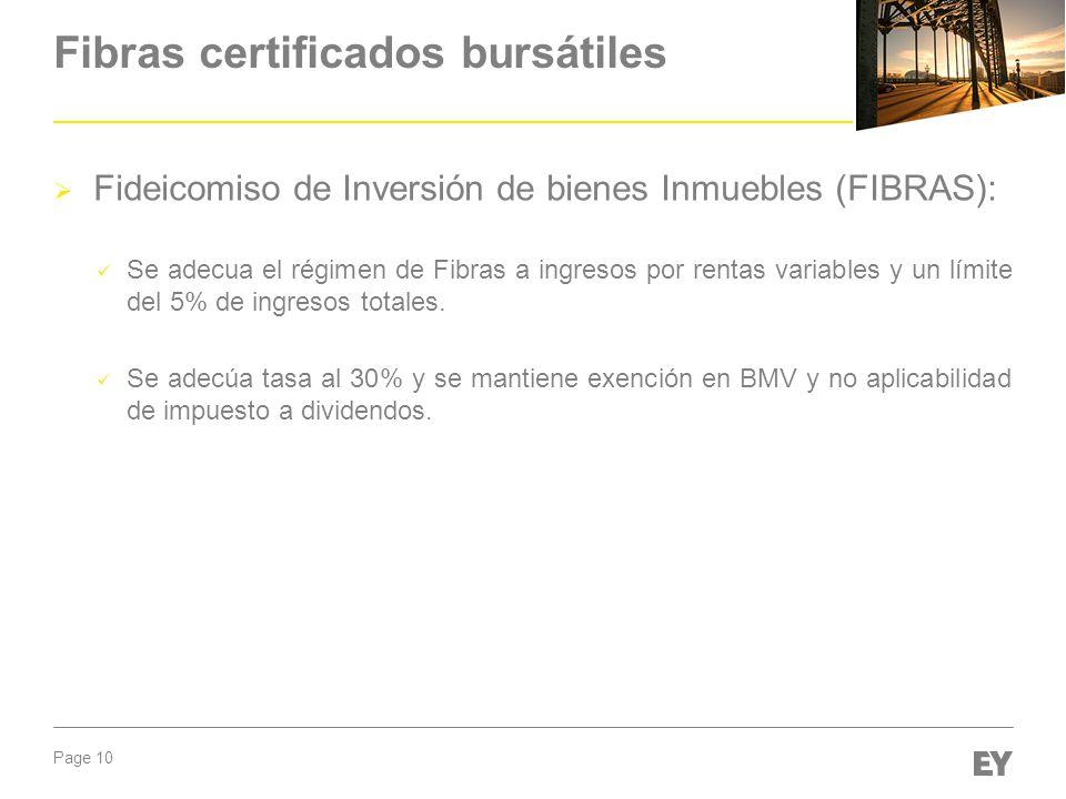 Page 10 Fibras certificados bursátiles Fideicomiso de Inversión de bienes Inmuebles (FIBRAS): Se adecua el régimen de Fibras a ingresos por rentas var