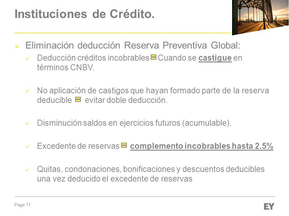 Page 11 Instituciones de Crédito. Eliminación deducción Reserva Preventiva Global: Deducción créditos incobrables Cuando se castigue en términos CNBV.