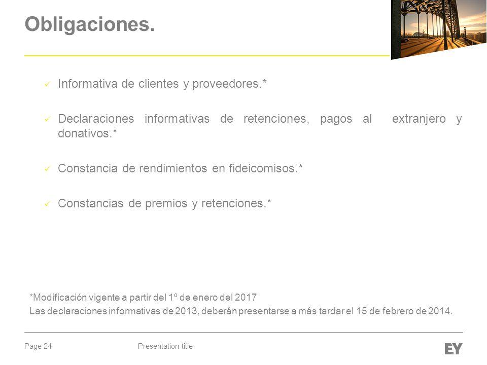 Page 24 Obligaciones. Informativa de clientes y proveedores.* Declaraciones informativas de retenciones, pagos al extranjero y donativos.* Constancia