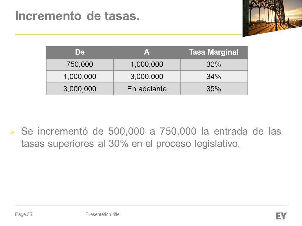 Page 35 Incremento de tasas. Se incrementó de 500,000 a 750,000 la entrada de las tasas superiores al 30% en el proceso legislativo. Presentation titl