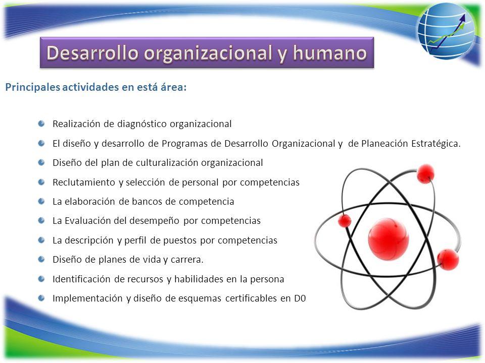 Realización de diagnóstico organizacional El diseño y desarrollo de Programas de Desarrollo Organizacional y de Planeación Estratégica. Diseño del pla