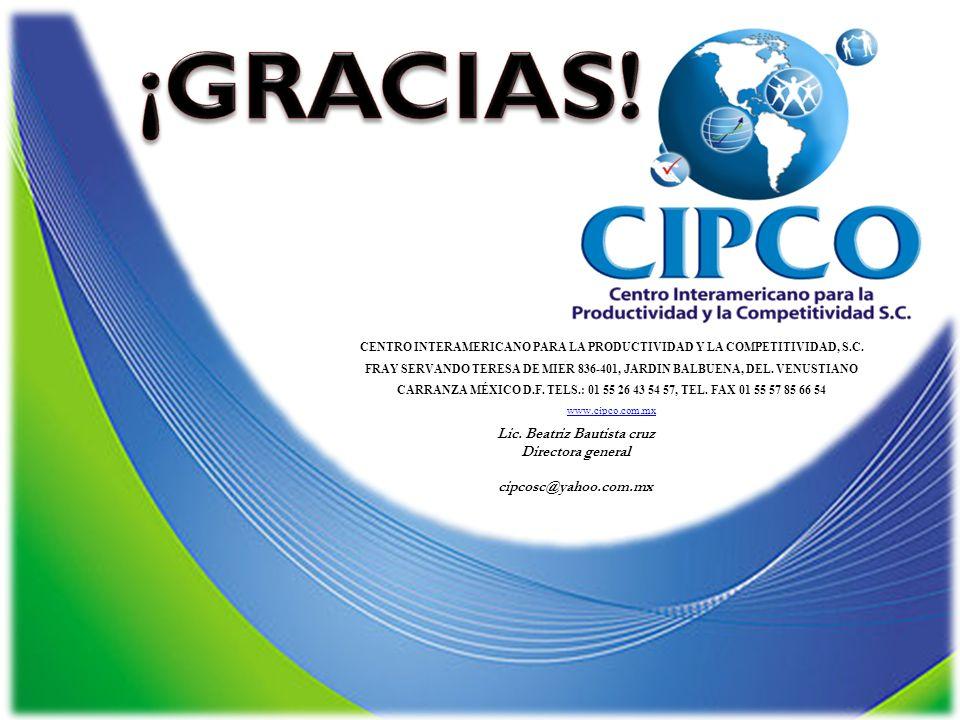 CENTRO INTERAMERICANO PARA LA PRODUCTIVIDAD Y LA COMPETITIVIDAD, S.C. FRAY SERVANDO TERESA DE MIER 836-401, JARDIN BALBUENA, DEL. VENUSTIANO CARRANZA