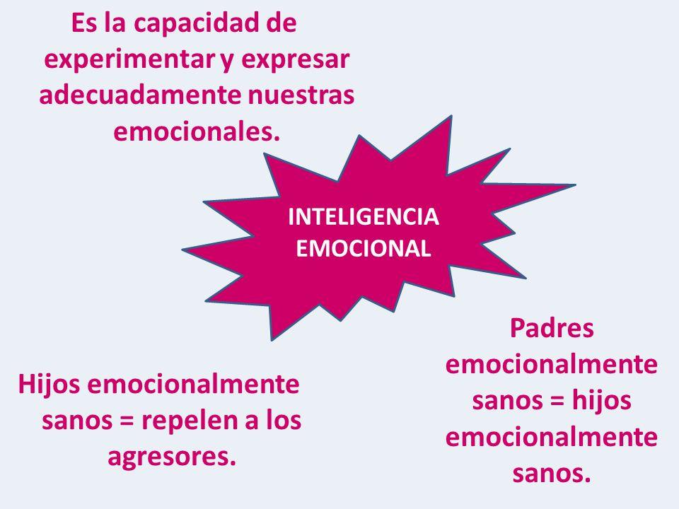 INTELIGENCIA EMOCIONAL Hijos emocionalmente sanos = repelen a los agresores.