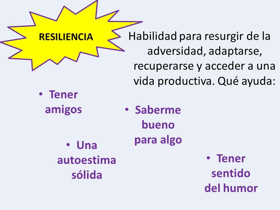 Habilidad para resurgir de la adversidad, adaptarse, recuperarse y acceder a una vida productiva.
