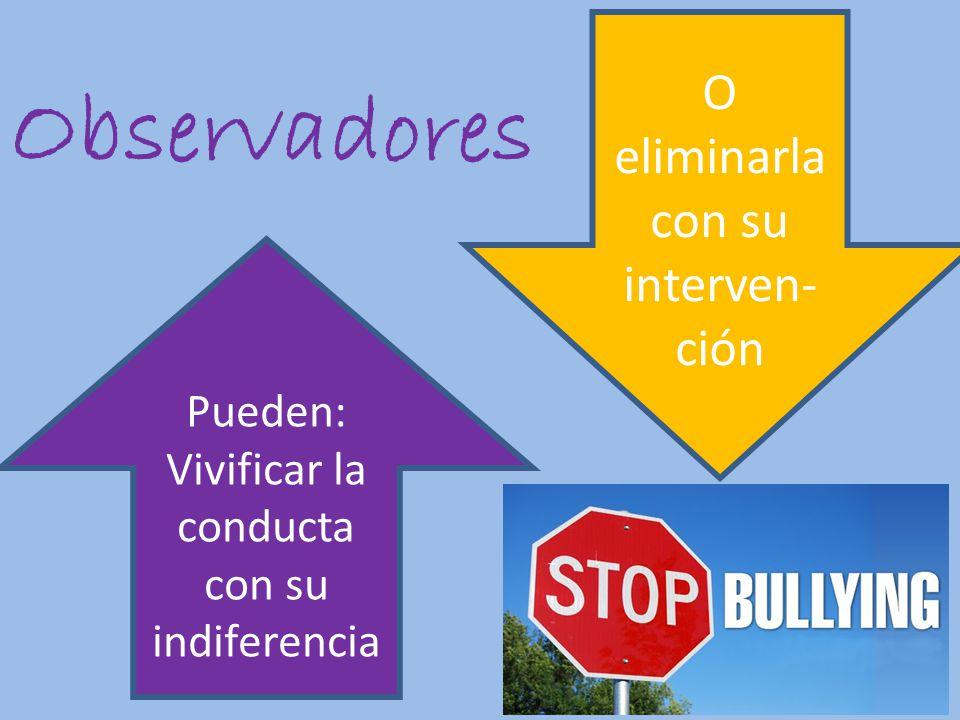 Observadores Pueden: Vivificar la conducta con su indiferencia O eliminarla con su interven- ción