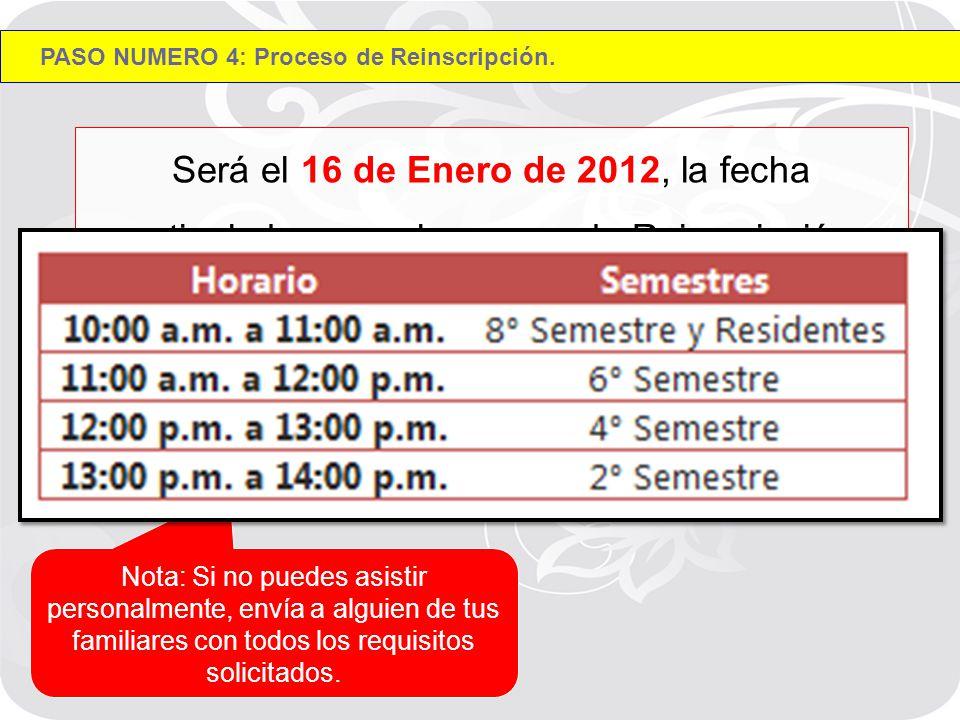 Será el 16 de Enero de 2012, la fecha estipulada para el proceso de Reinscripción correspondiente a la carrera de Ingeniería en Sistemas de 09:00 a 14:00 hrs.