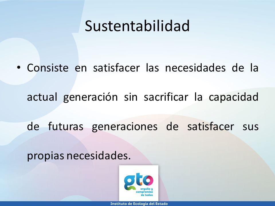 Consiste en satisfacer las necesidades de la actual generación sin sacrificar la capacidad de futuras generaciones de satisfacer sus propias necesidad