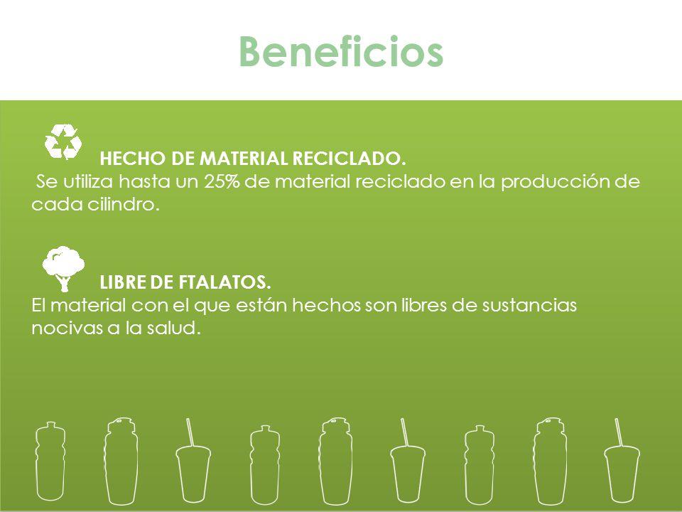 HECHO DE MATERIAL RECICLADO. Se utiliza hasta un 25% de material reciclado en la producción de cada cilindro. LIBRE DE FTALATOS. El material con el qu