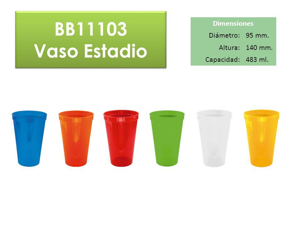 BB11103 Vaso Estadio BB11103 Vaso Estadio Dimensiones Diámetro:95 mm. Altura:140 mm. Capacidad:483 ml.