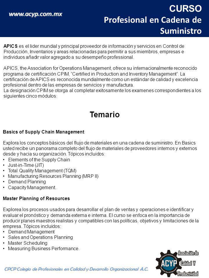 CURSO Profesional en Cadena de Suministro CPCP Colegio de Profesionales en Calidad y Desarrollo Organizacional A.C.