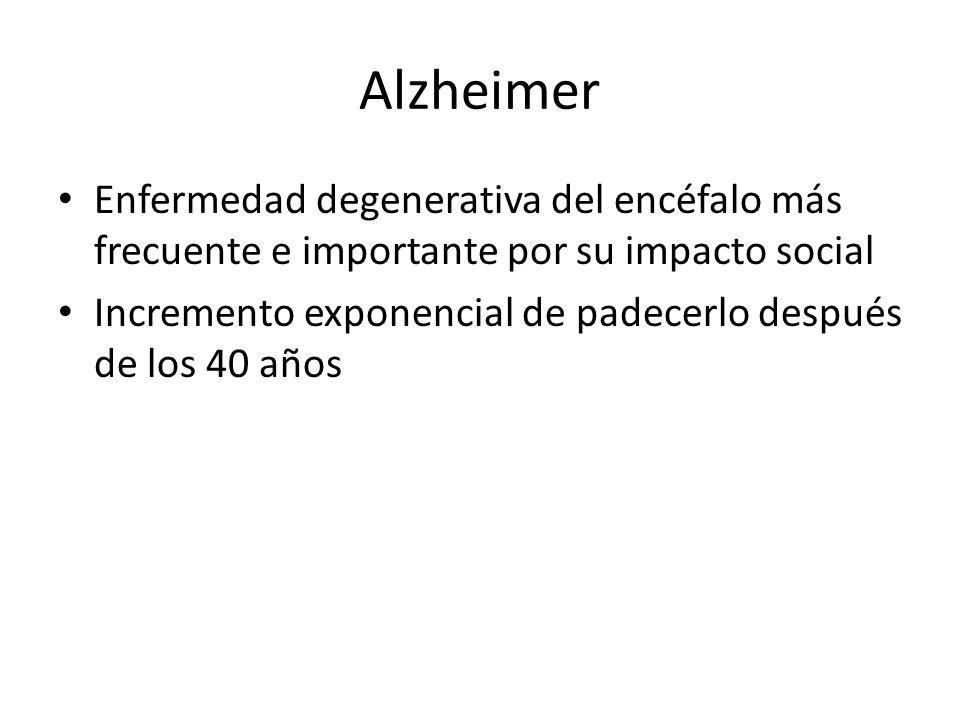 Alzheimer Enfermedad degenerativa del encéfalo más frecuente e importante por su impacto social Incremento exponencial de padecerlo después de los 40