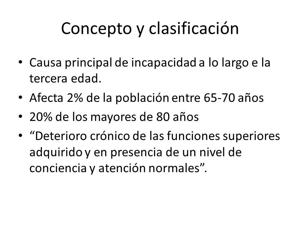 Concepto y clasificación Causa principal de incapacidad a lo largo e la tercera edad. Afecta 2% de la población entre 65-70 años 20% de los mayores de