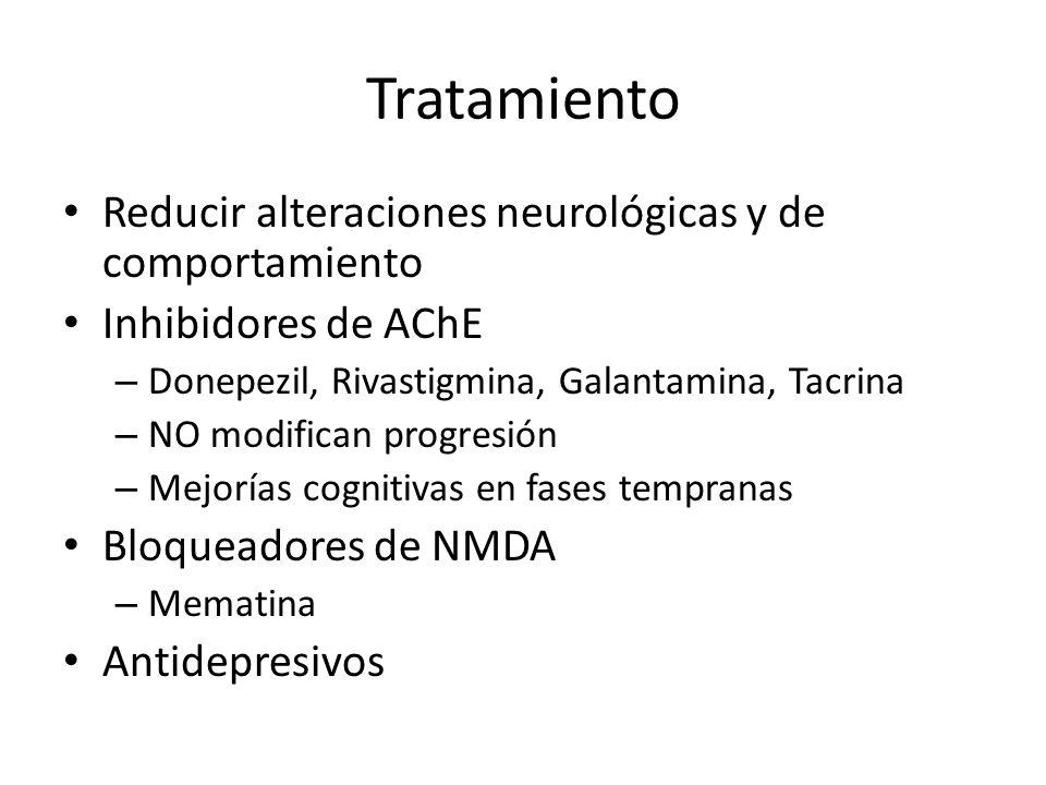 Tratamiento Reducir alteraciones neurológicas y de comportamiento Inhibidores de AChE – Donepezil, Rivastigmina, Galantamina, Tacrina – NO modifican p
