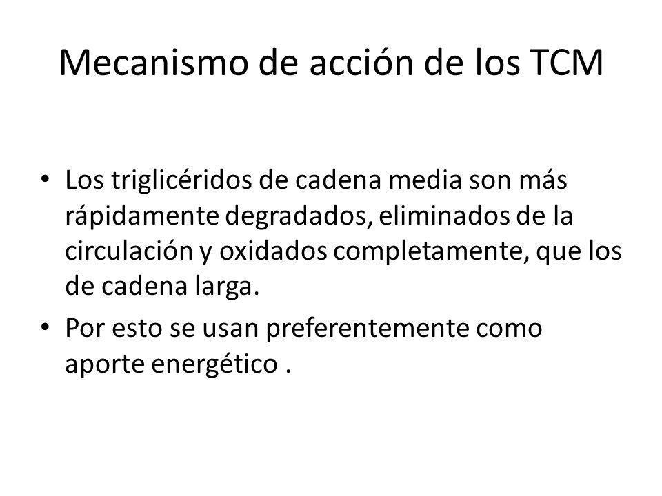Mecanismo de acción de los TCM Los triglicéridos de cadena media son más rápidamente degradados, eliminados de la circulación y oxidados completamente