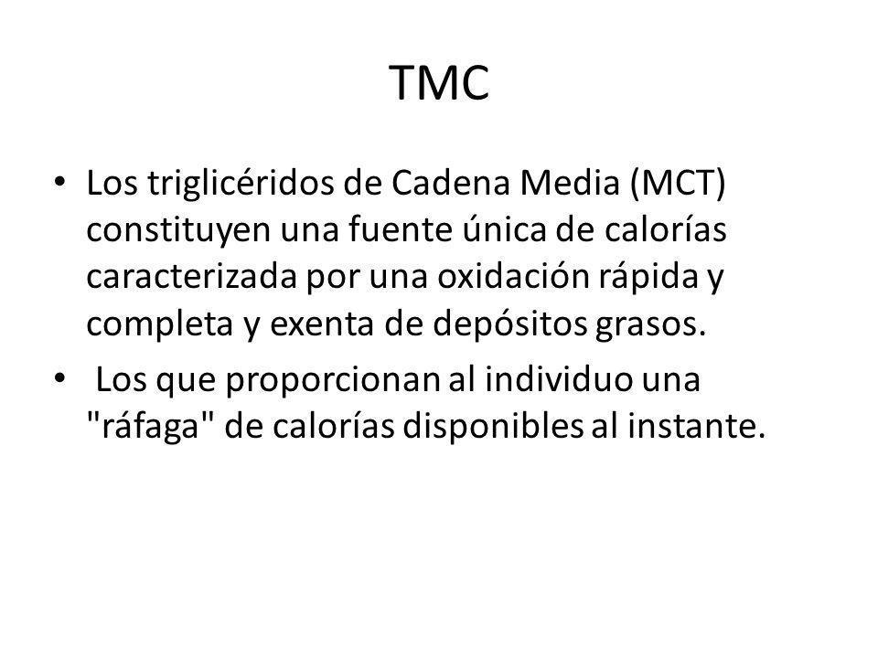 TMC Los triglicéridos de Cadena Media (MCT) constituyen una fuente única de calorías caracterizada por una oxidación rápida y completa y exenta de dep