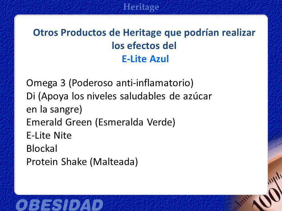 Otros Productos de Heritage que podrían realizar los efectos del E-Lite Azul Omega 3 (Poderoso anti-inflamatorio) Di (Apoya los niveles saludables de