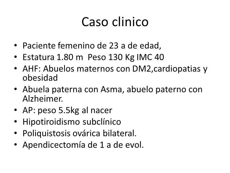 Caso clinico Paciente femenino de 23 a de edad, Estatura 1.80 m Peso 130 Kg IMC 40 AHF: Abuelos maternos con DM2,cardiopatias y obesidad Abuela patern