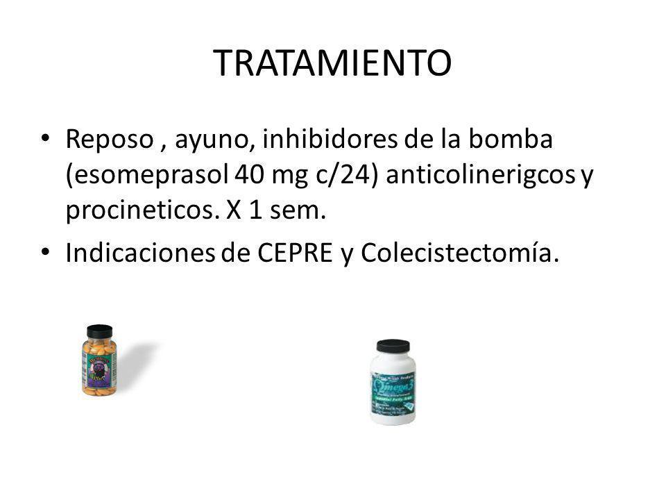 TRATAMIENTO Reposo, ayuno, inhibidores de la bomba (esomeprasol 40 mg c/24) anticolinerigcos y procineticos. X 1 sem. Indicaciones de CEPRE y Colecist