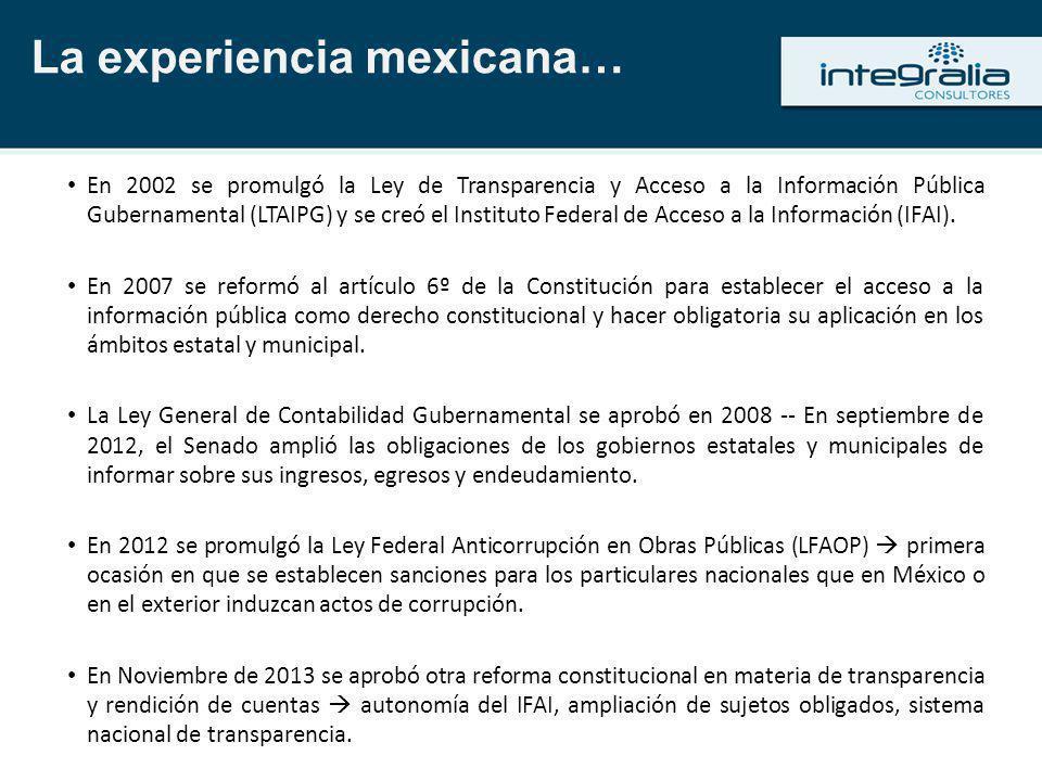 En 2002 se promulgó la Ley de Transparencia y Acceso a la Información Pública Gubernamental (LTAIPG) y se creó el Instituto Federal de Acceso a la Inf