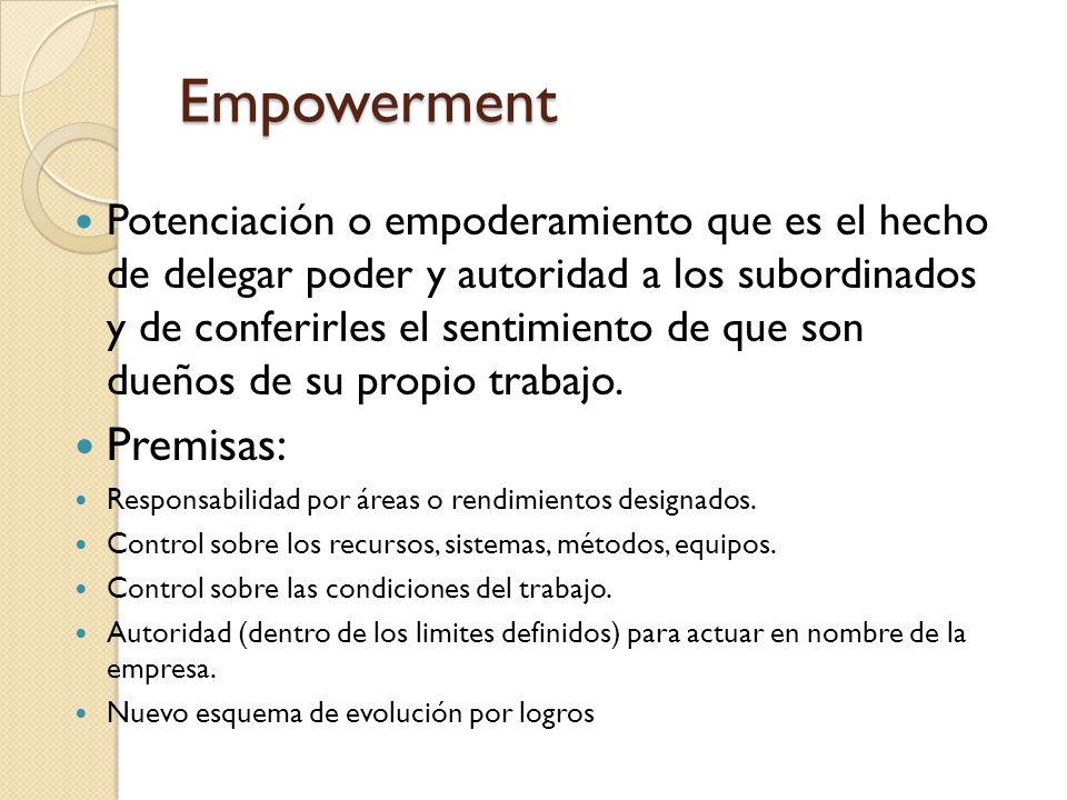 Empowerment Potenciación o empoderamiento que es el hecho de delegar poder y autoridad a los subordinados y de conferirles el sentimiento de que son d