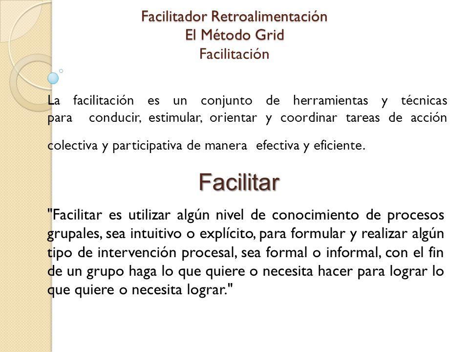 Facilitador Retroalimentación El Método Grid Facilitador Retroalimentación El Método Grid Facilitación La facilitación es un conjunto de herramientas