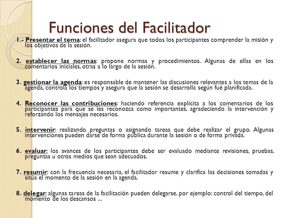 Funciones del Facilitador 1.- Presentar el tema: el facilitador asegura que todos los participantes comprender la misión y los objetivos de la sesión.