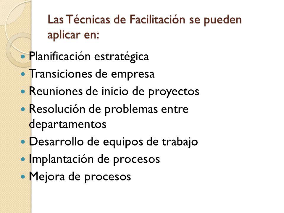 Las Técnicas de Facilitación se pueden aplicar en: Planificación estratégica Transiciones de empresa Reuniones de inicio de proyectos Resolución de pr
