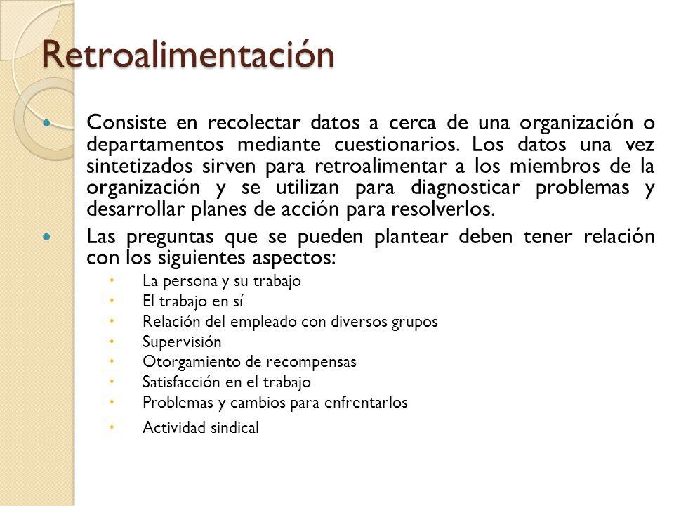 Retroalimentación Consiste en recolectar datos a cerca de una organización o departamentos mediante cuestionarios. Los datos una vez sintetizados sirv