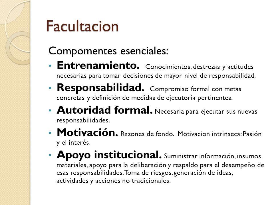 Facultacion Compomentes esenciales: Entrenamiento. Conocimientos, destrezas y actitudes necesarias para tomar decisiones de mayor nivel de responsabil