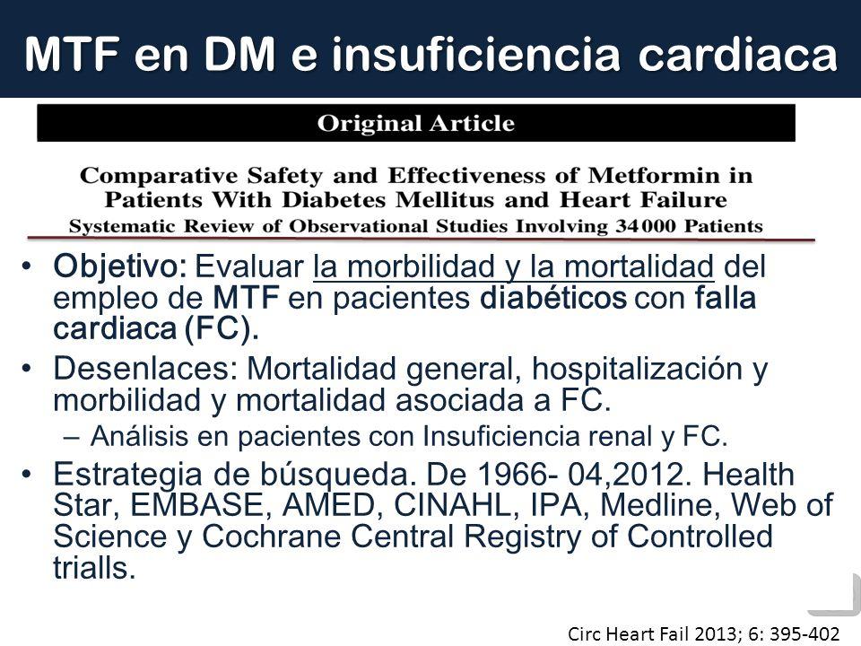 MTF en DM e insuficiencia cardiaca Circ Heart Fail 2013; 6: 395-402 Objetivo: Evaluar la morbilidad y la mortalidad del empleo de MTF en pacientes dia